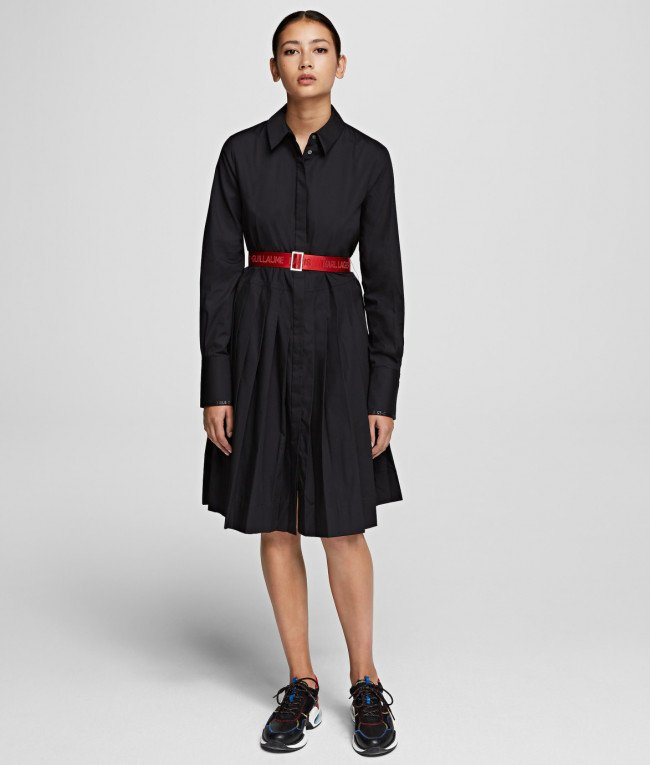 Šaty Karl Lagerfeld Shirt Dress W/ Logo Belt - Čierna