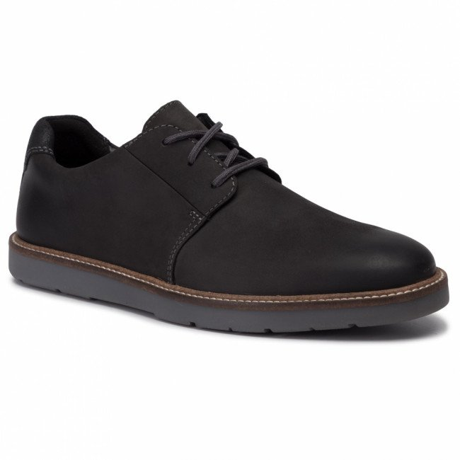 Poltopánky CLARKS - Grandin Plain 261383717 Black Leather