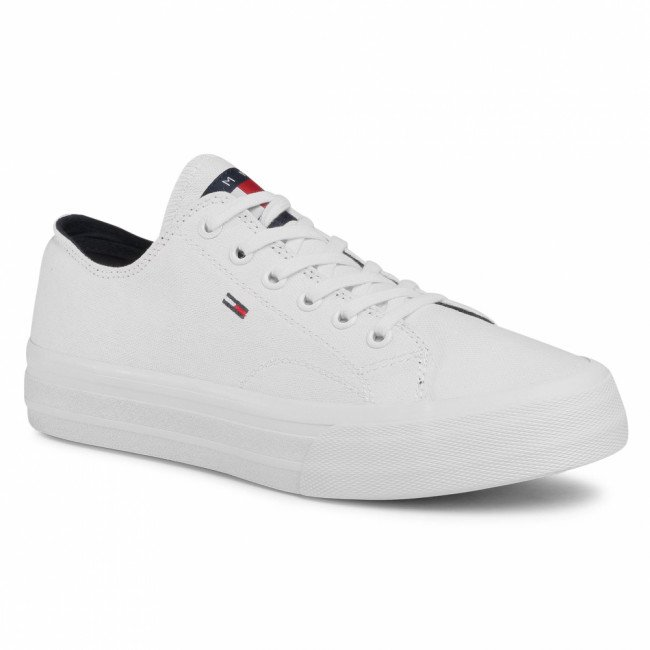 Tenisky TOMMY JEANS - Long Lace Up Vulc EM0EM00486 White YBR