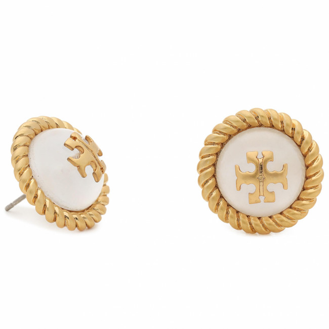 Náušnice TORY BURCH - Kira Glass Stud Earring 70571 Rolled Brass/Mother Of Pearl 100