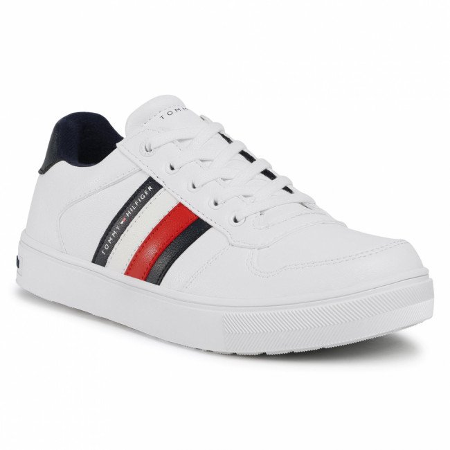 Sneakersy TOMMY HILFIGER - Low Cut Lace-Up Sneaker T3B4-30922-0621 S White 100