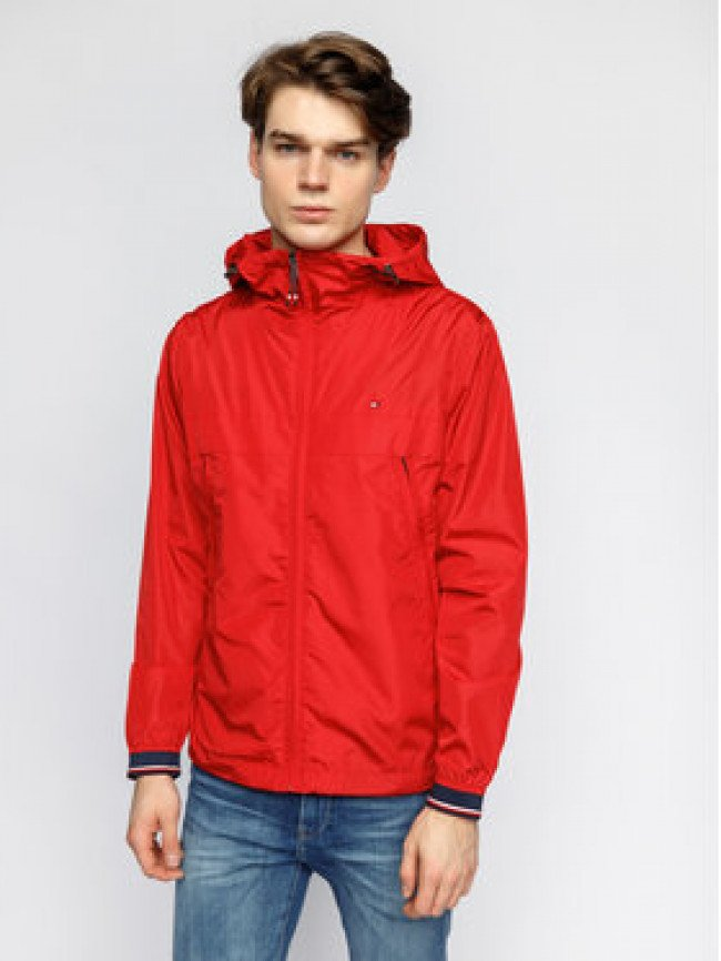Tommy Hilfiger Prechodná bunda Light Weight Hooded MW0MW12216 Červená Regular Fit