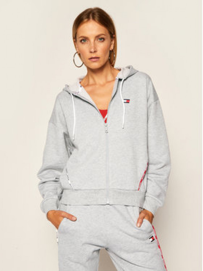 Tommy Sport Mikina Hoody Piping S10S100595 Sivá Regular Fit