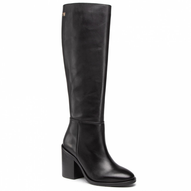Čižmy TOMMY HILFIGER - Shaded Leather Long Boot FW0FW05174 Black BDS