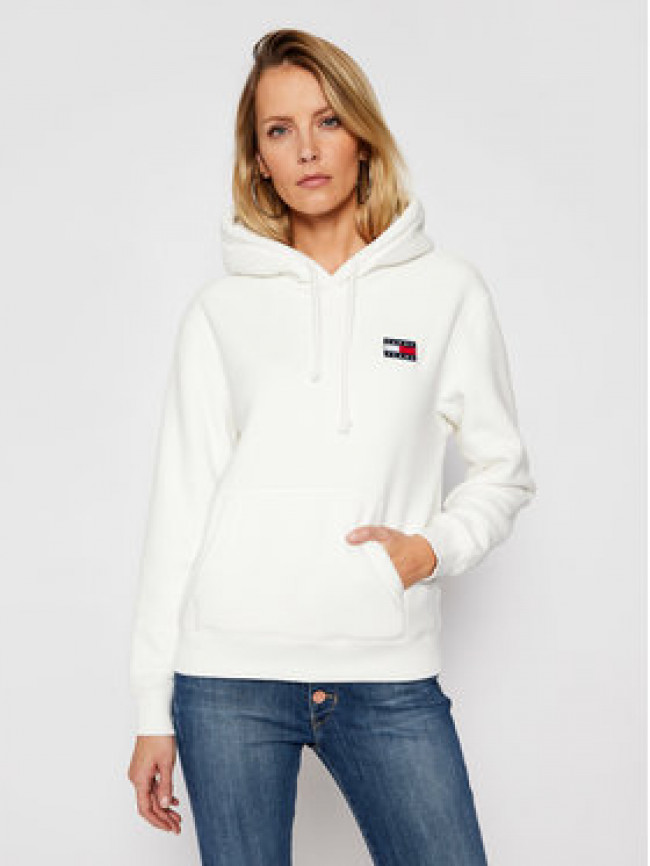 Tommy Jeans Mikina Badge Polar Fleece DW0DW08978 Biela Regular Fit