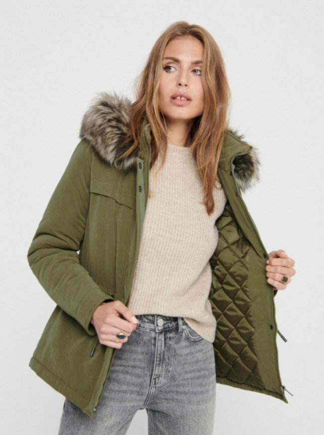 Khaki zimná parka ONLY Starline