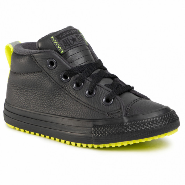 Sneakersy CONVERSE - Ctas Street Boot Md 669328C Almost Black/Lemon Venom/Black