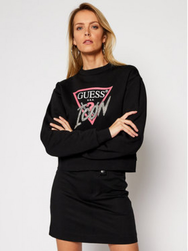 Guess Mikina Icon Fleece W1RQ04 K68I0 Čierna Regular Fit