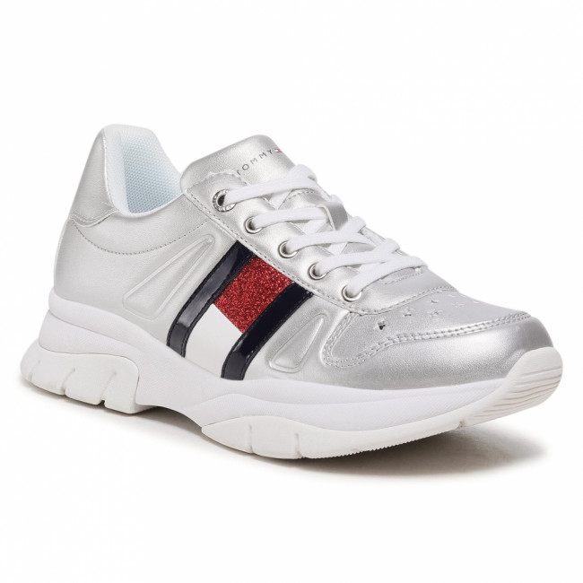 Sneakersy TOMMY HILFIGER - Low Cut Lace Up Sneaker T3A4-31033-1160 S Silver 904