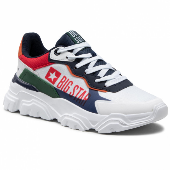 Sneakersy BIG STAR - HH174208  White/Navy/Green