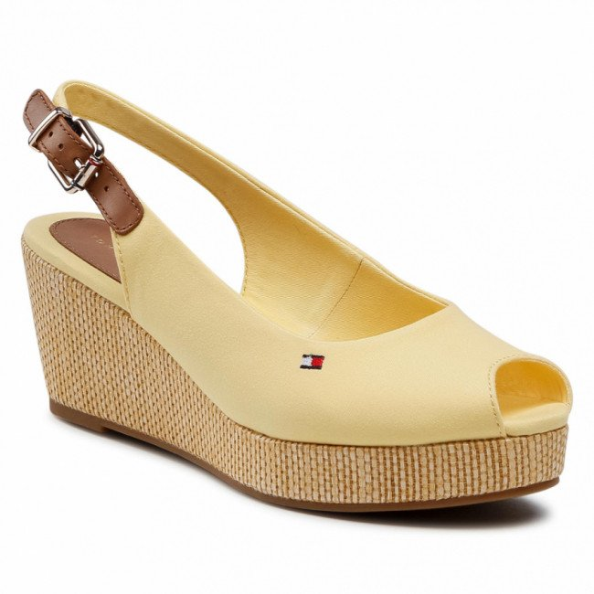 Espadrilky TOMMY HILFIGER - Iconic Elba Sling Back Wedge FW0FW04788 Delicate Yellow ZFF