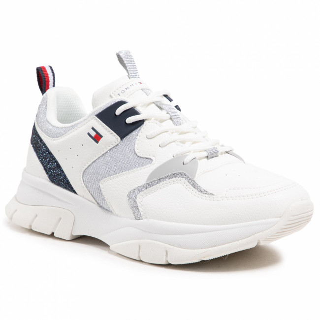 Sneakersy TOMMY HILFIGER - Low Cute Lace-Up Sneaker T3A4-31034-0991 S White/Silver/Blu Y955