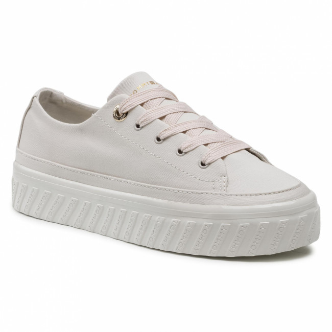 Sneakersy TOMMY HILFIGER - Shiny Flatform Vulc Sneaker FW0FW05536 White Dove AF2