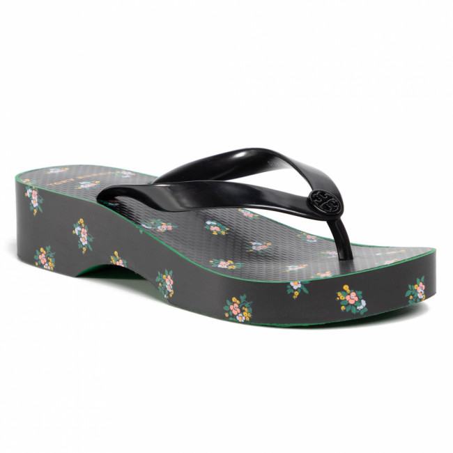 Žabky TORY BURCH - Cut-Out Wedge Flip Flop 75260 Perfect Black/Daybreak Ditsy 001