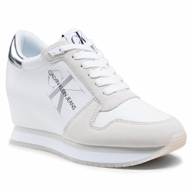Sneakersy CALVIN KLEIN JEANS - Wedge Sneaker Laceup YW0YW00081 Bright White YAF