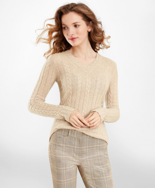 Sveter Brooks Brothers Cable-Knit Cashmere V-Neck Sweater