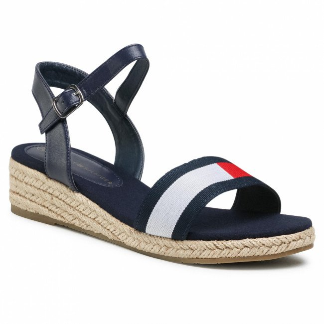 Espadrilky TOMMY HILFIGER - Rope Wedge Sandal T3A2-31053-0048Y004 S Blue/White/Red Y004