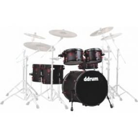 DDRUM Hybrid Kit 6pc Acoustic/Trigger Blk/Red