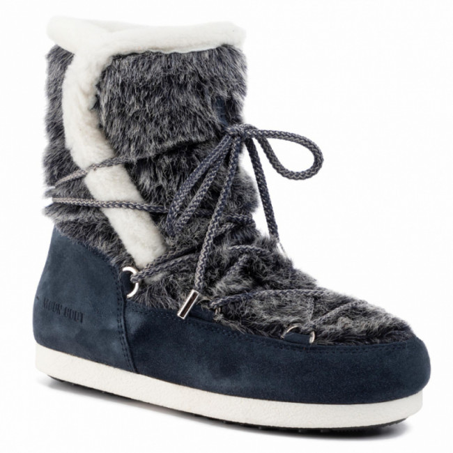 Snehule MOON BOOT - Mb Far Side High Faux Fur 24201000001  Navy Blue