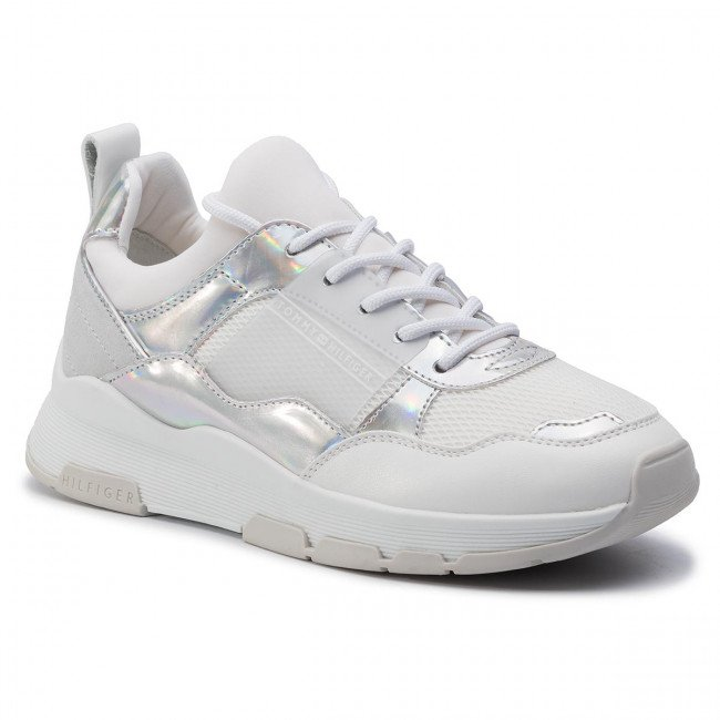 Sneakersy TOMMY HILFIGER - Lifestyle Iridescent Sneaker FW0FW04391 White/Iridescent 902