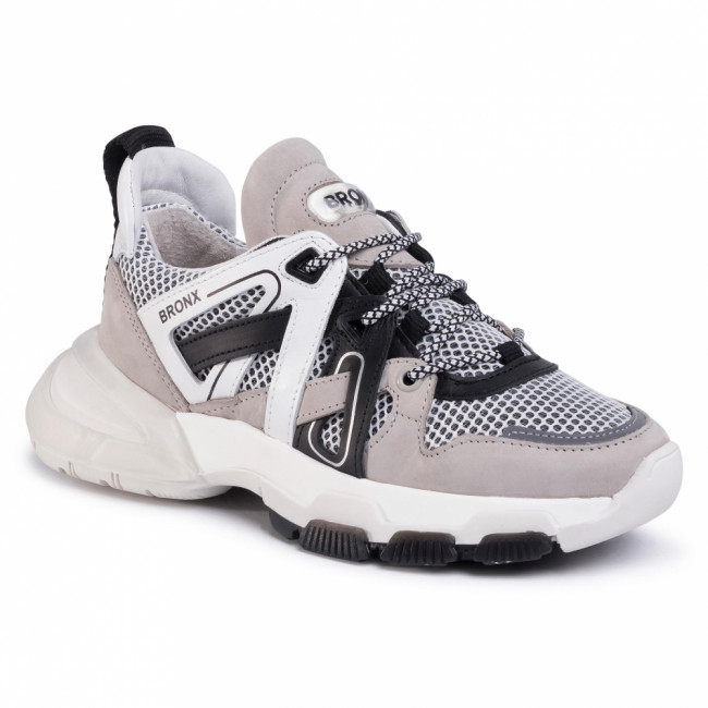 Sneakersy BRONX - 66285-BM  Light Grey/White/Black 3106