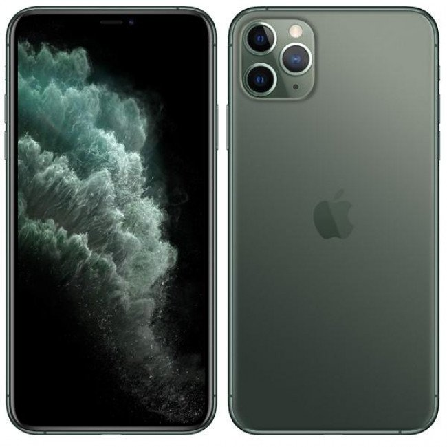 "Mobilný telefón Apple iPhone 11 Pro Max 64 GB - Midnight Green... Mobilní telefon 6.5"" Super Retina (OLED) 2688 x 1242, procesor A13 Bionic Six-Core 64 GB, RAM 6 GB, Single SIM, Wi-Fi, Bluetooth, LTE (4G)/ 3G, GPS, NFC, iOS 13, oficiální distribuce"
