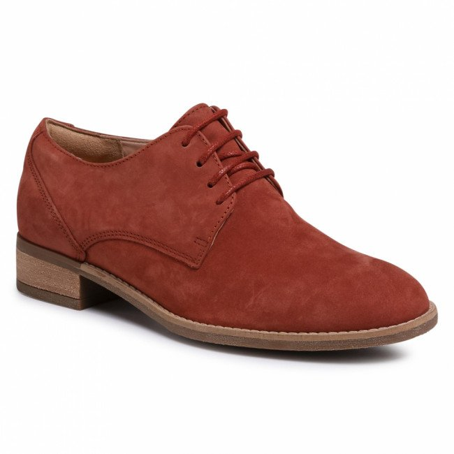 Oxfordy CLARKS - Netley Bloom 261407834 Rust Nubuck