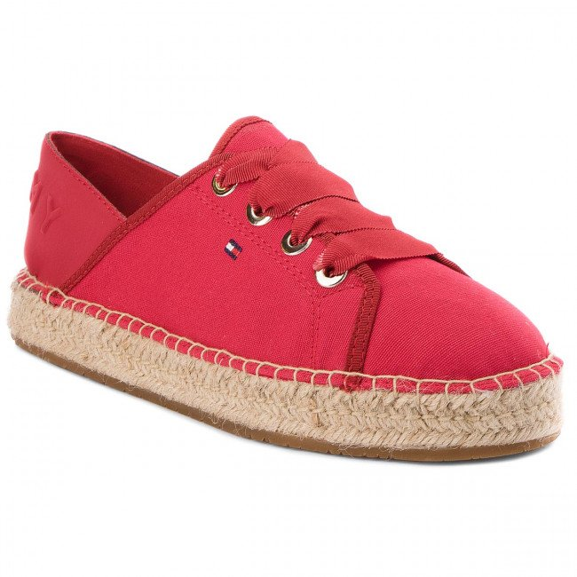 Espadrilky TOMMY HILFIGER - Th Metallic Lace Up Espadrille FW0FW02218 Tango Red 611