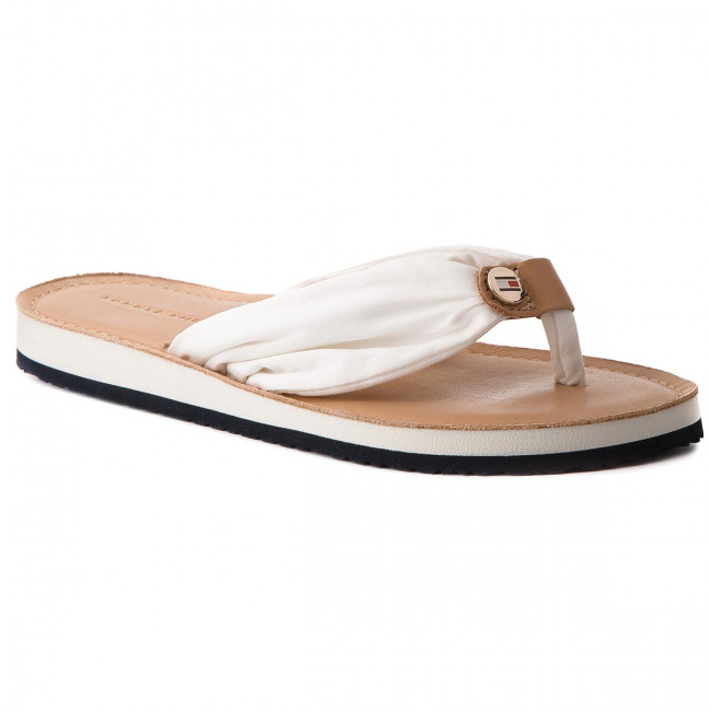 Žabky TOMMY HILFIGER - Leather Footbed Beach Sandal FW0FW00475 Whisper White 121
