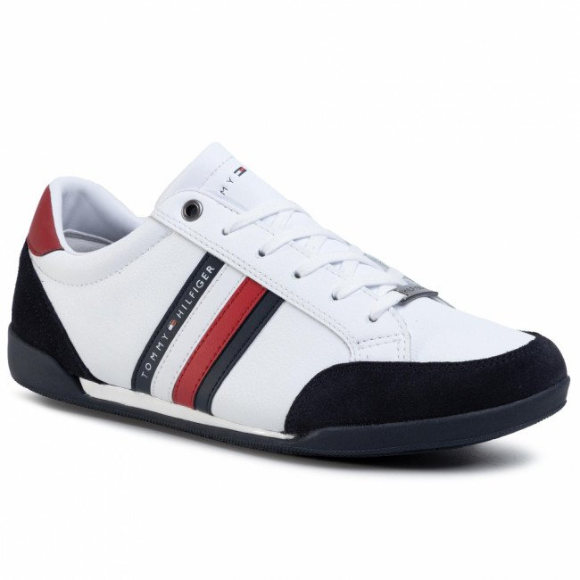 Sneakersy TOMMY HILFIGER - Corporate Material Mix Cupsole FM0FM02665 White YBS
