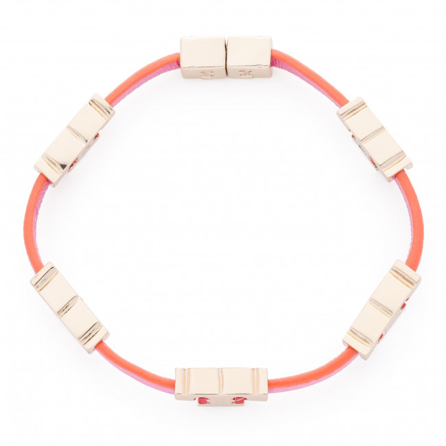 Náramok TORY BURCH - Serif-T Single Wrap Bracelet 61675 Tory Gold/Tory Orange/Crazy Pink 701