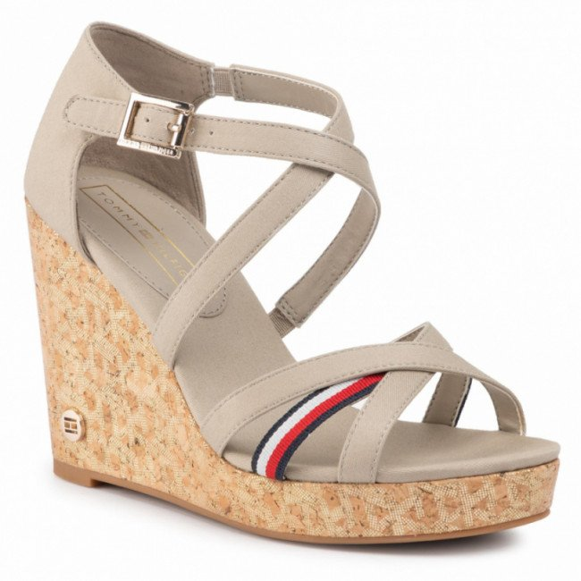 Sandále TOMMY HILFIGER - Corporate Detail High Wedge FW0FW04613  Stone AEP