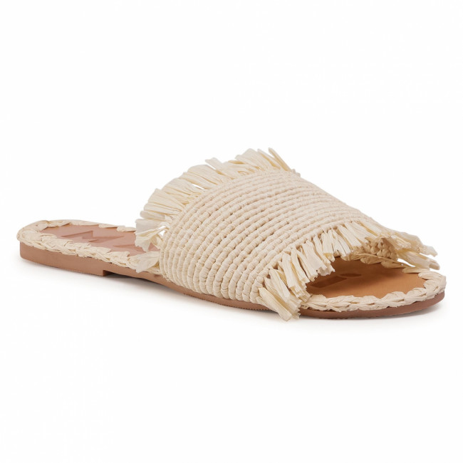Šľapky MANEBI - Leather Sandals S 1.5 Y0 Natural Fringed