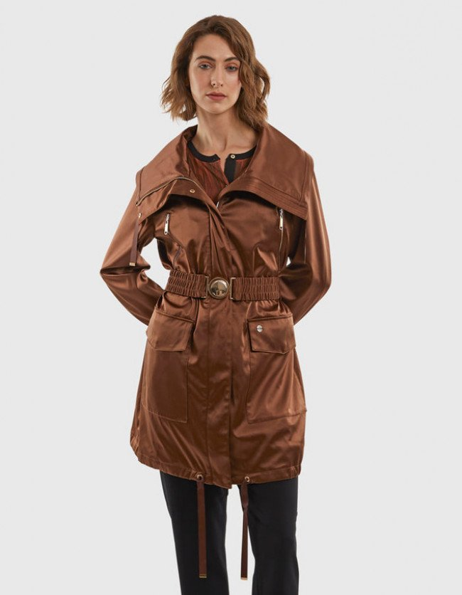 Bunda La Martina Woman Trench Outdoor Heavy Sat - Hnedá