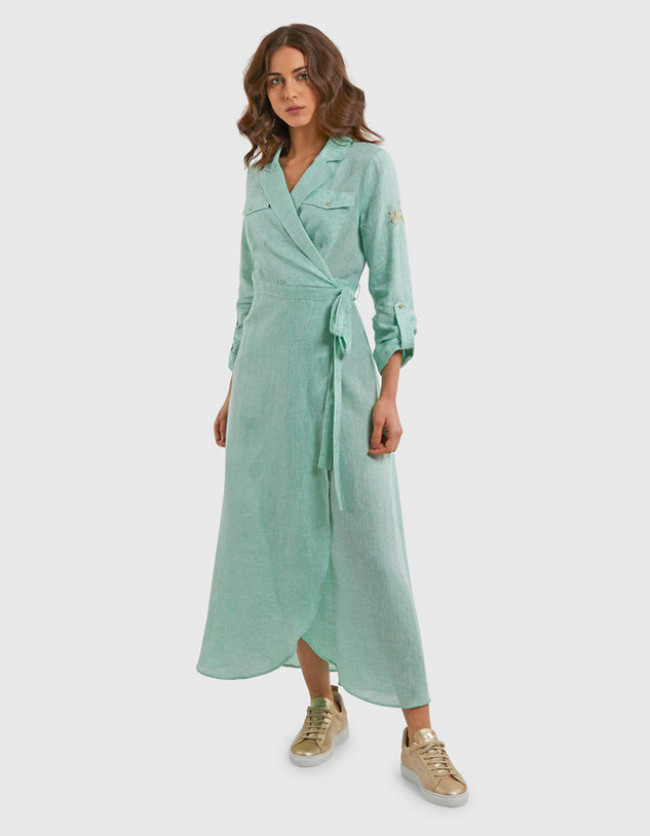 Šaty La Martina Woman Linen Dress L/S - Zelená