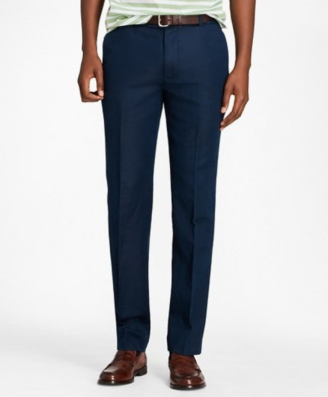 Nohavice Brooks Brothers Cbt Cotton/Linen Pant Milano Navy