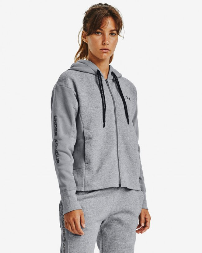 Under Armour Rival Fleece Embroidered Full Zip Mikina Šedá