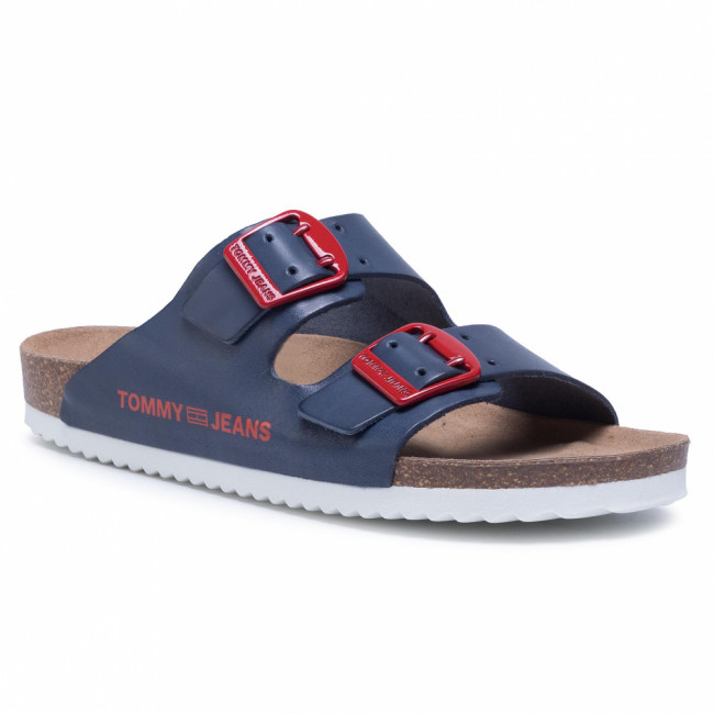 Šľapky TOMMY JEANS - Color Block Flat Sandal EN0EN00835 Twilight Navy C87