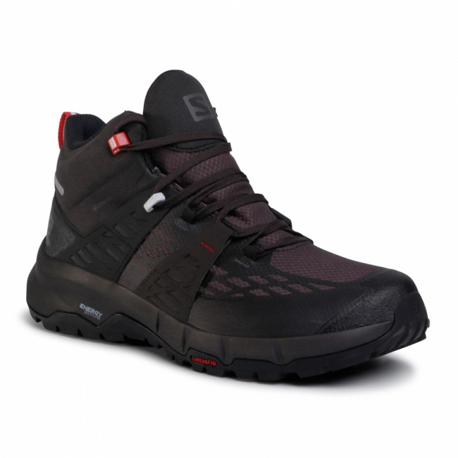 Trekingová obuv SALOMON - Odyssey Mid Gtx GORE-TEX 411445 27 V0 Black/Shale/High Risk Red