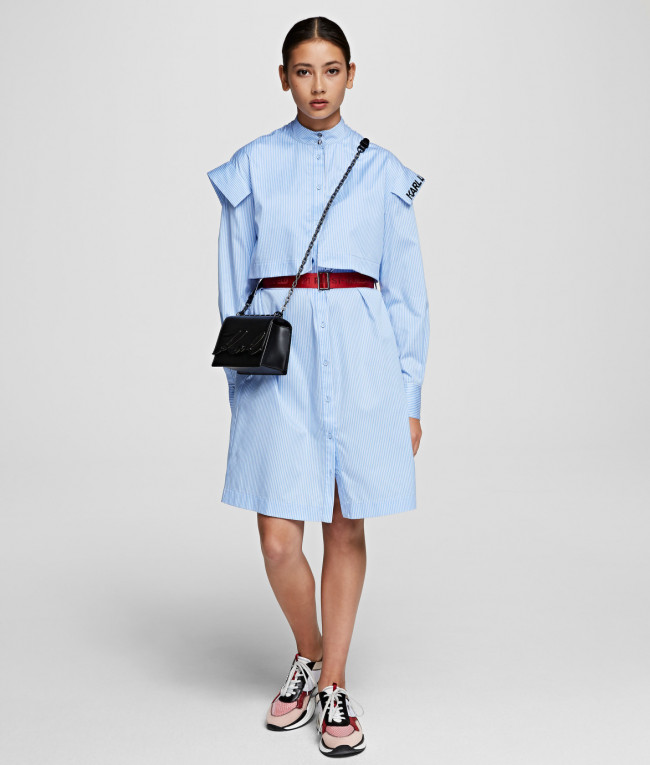 Šaty Karl Lagerfeld Stripe Poplin Shirt Dress