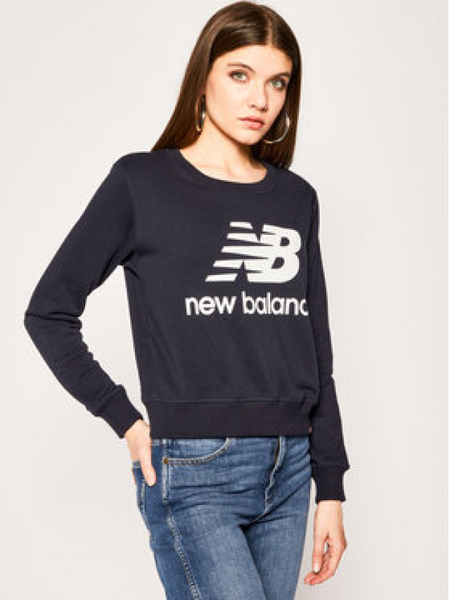 New Balance Mikina Essentials Crew WT91585 Tmavomodrá Relaxed Fit