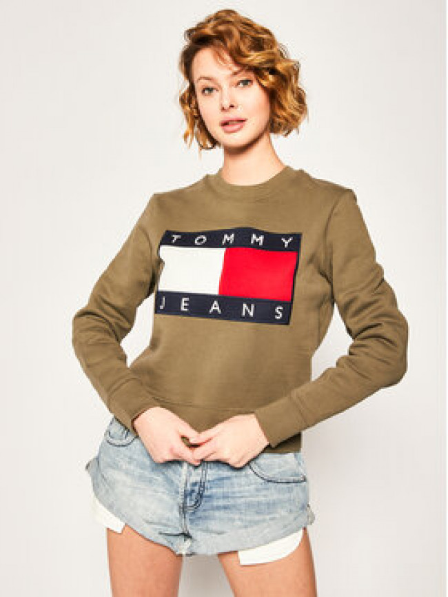 Tommy Jeans Mikina Tommy Flag Crew DW0DW07414 Zelená Regular Fit
