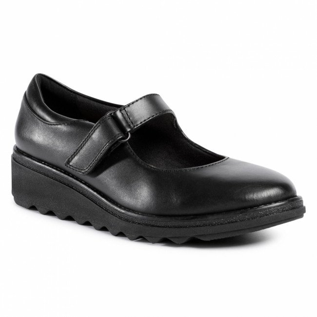 Poltopánky CLARKS - Sharon Shore 261528324  Black Leather