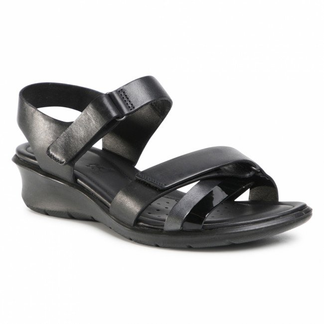 Sandále ECCO - Felicia Sandal 21663352034 Black/Black Dark Shadow Metallic/Black