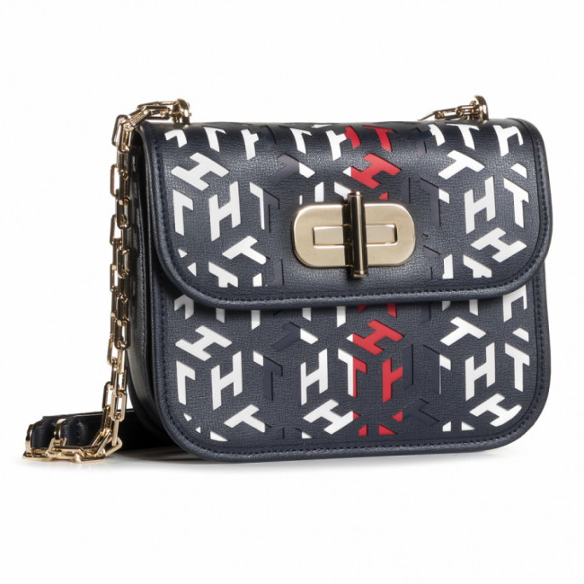 Kabelka TOMMY HILFIGER - Turnlock Crossover Cut Out Mono AW0AW08639 BDS