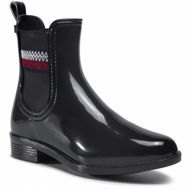 Gumáky TOMMY HILFIGER - Corporate Elastic Rainboot  Black BDS