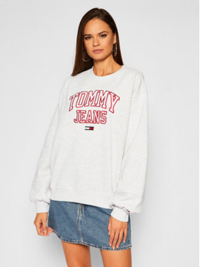 Tommy Jeans Mikina Collegiate Logo DW0DW08981 Sivá Relaxed Fit