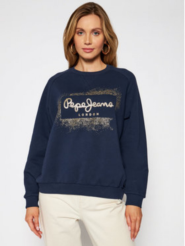 Pepe Jeans Mikina Andrea PL581070 Tmavomodrá Relaxed Fit