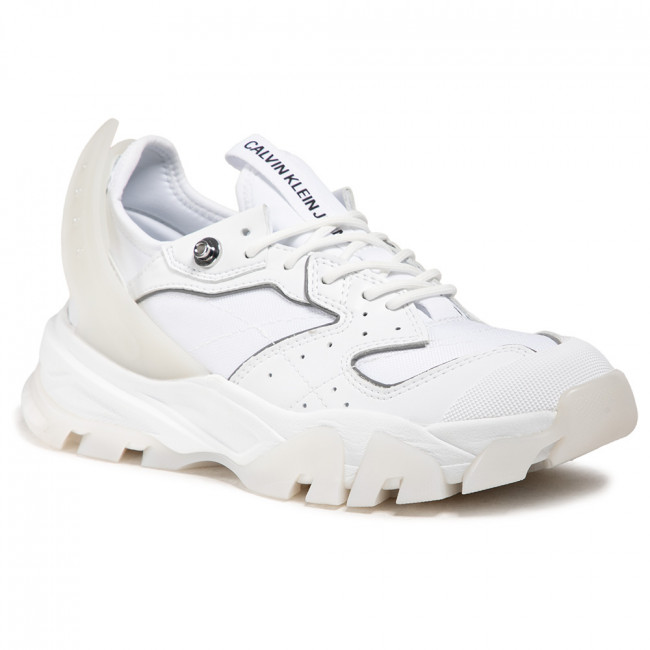Sneakersy CALVIN KLEIN JEANS - Chunky Sole Laceup Lth-Pu YW0YW00095 Bright White YAF