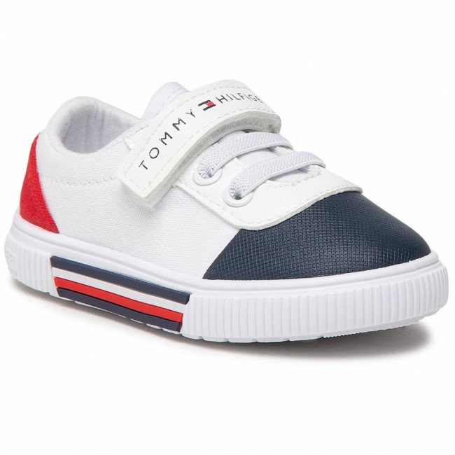 Tramky TOMMY HILFIGER - Low Cut Lace-Up/Velcro Sneaker T1B4-31068-0890 Blue/White/Red Y004